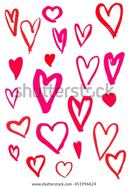 Set of colorful hearts doodles. Brush strokes, free hand, various.