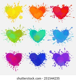 set of colorful hearts with paint splatters