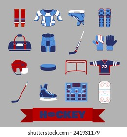 Set of colorful hockey icons in flat style. Vector illustration with various sport symbols