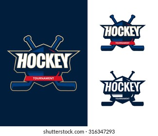 Set of Colorful hockey tournament challenge logo labels on shield with two crossed hockey sticks. Vector isolated sport logo design illustration