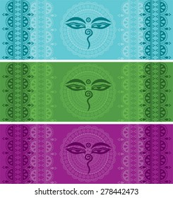 Set of colorful horizontal banners with Indian henna border designs and Buddha eyes symbol