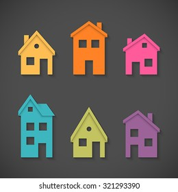 Set of colorful houses icons. Global colors - easy to change.