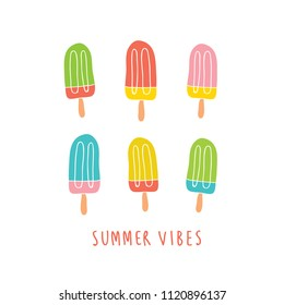 082113ac78e3 Set of colorful ice creams isolated on white with summer vibes headline.  Summer postcard design