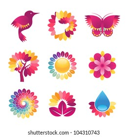 Set of colorful icons for cosmetics, spa, beauty