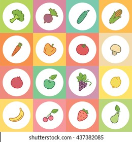 Set colorful icons with fruits and vegetables in circles.