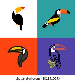 Set of colorful icons or logo templates of modern stylish toucans