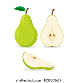 Set of colorful icons pear whole and cut on a white background. Fruit. Design for textiles, labels, posters. Vector illustration.