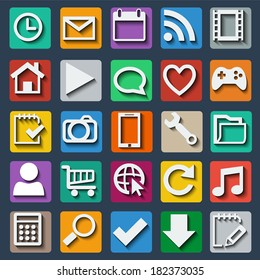 Set of colorful icons with shadow for various applications in the vector