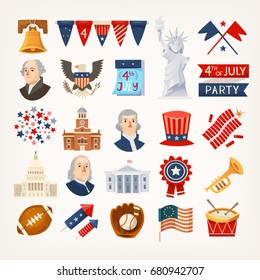 Set of colorful icons stickers and graphic elements representing USA traditions, landmarks and famous historical characters. Isolated vector icons