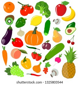 Set colorful icons vegetables and fruits,flat style.Vector illustration.