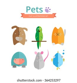 Set of  colorful illustrations of pets. Dog, cat, parrot, fish, mouse and turtle icons in flat style. Ideal for veterinary and pet shop web sites and printable materials..