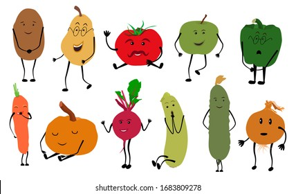 Set of colorful images of cute kawaii vegetables and fruits. Isolated elements on white background, flat style objects for design. Funny food, characters for children, vector illustration.