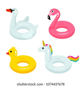 A set of colorful inflatable lifebuoys with different faces of animals - a swan, a unicorn, a duck, a flamingo. circle for the pool, ocean or sea. concept of leisure and travel. vector illustration