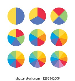 Set of colorful info piecharts / segment of circle element icons for 1, 2, 3, 4, 5, 6, 8, 9, 10. Modern flat design infographics template for app, ui, ux, vector eps10 isolated on black background