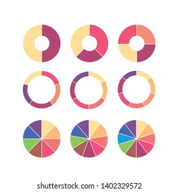 Set of colorful info piecharts / segment of circle element icons, Modern flat design infographics template