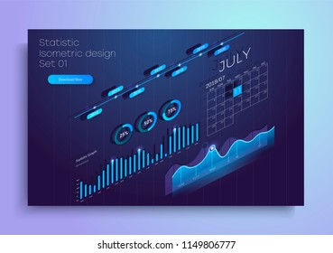 Set of colorful infographic vector elements: presentation graphics, statistics of data and diagrams. 3d isometric design. Perfect for banner, website, presentation
