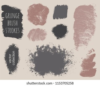 Set of colorful ink vector stains. Grunge brush collection