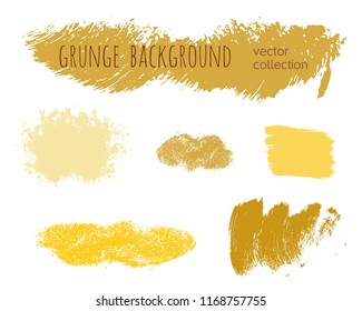 Set of colorful ink vector stains. Grunge brush collection isolated on white