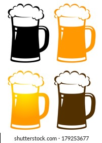 set of colorful isolated beer mugs with foam on white background
