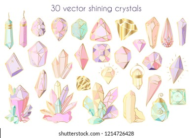 Set of colorful isolated elements - crystals and gems on white background, hand drawing graphics, vector illustration