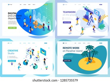 Set colorful Isometric concept creative studio, cooperation Teamwork, digital procurement department, remote work. Easy to edit and customize.