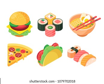 Set of colorful isometric fast food icons: burger, sushi, rolls, ramen, pizza and tacos. Favorite food. Isolated vector 3d illustration.