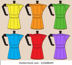Set of colorful italian coffee makers