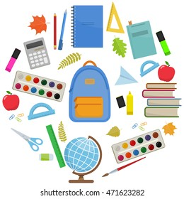 Set of colorful items for education. Circle shape template. Vector stock illustration.