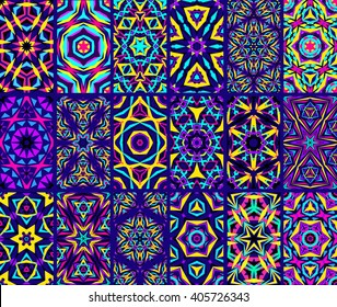 Set of colorful kaleidoscope seamless patterns. Decorative mandala ornament. Geometric design elements. Rainbow wallpaper, fabric, furniture print. Abstract vector flowers and stars. Psychedelic tiles