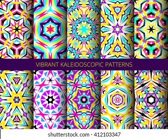 Set of colorful kaleidoscope seamless patterns. Decorative mandala ornament. Geometric design elements. Rainbow wallpaper, fabric, furniture print. Abstract vector flowers and stars. Psychedelic style