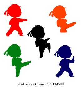 Set of colorful karate poses silhouettes. Martial arts for kids illustration. Silhouettes of boy practices kicks. Colorful figures of children. Childhood and Sports.