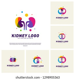 Set of Colorful Kidney Logo Design Concept. Urology Logo Vector Template