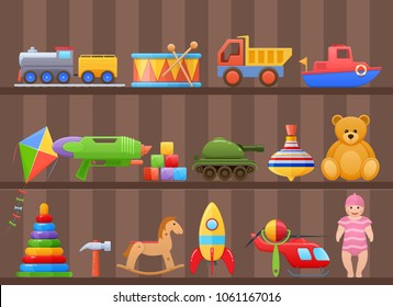Set colorful kids children's toys cartoon. Toys for child, on shelf of cabinet. Store counter, home games, education. Dolls, machinery, transport, animals, musical instruments. Illustration isolated