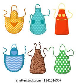 Set of colorful kitchen aprons with patterns icons isolated on white background. Protective garment. Cooking dress for housewife or chef of restaurant. Vector illustration