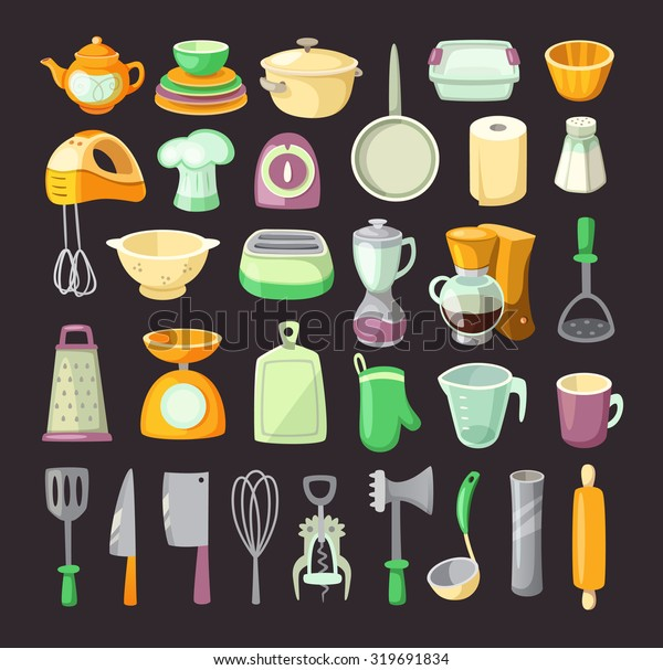 Set Colorful Kitchen Utensils Used Cooking Stock Vector ...