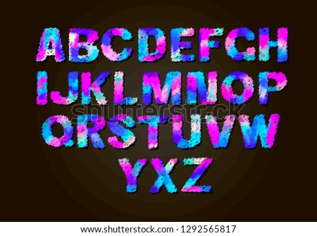 Set colorful letters color vector latin stock vector royalty free