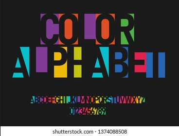 A set of colorful letters and numbers. Color vector latin alphabet. Font in the negative. Vector illustration.