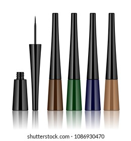 Set of colorful liquid eyeliners with brush. Makeup eye tool open and closed in realistic plastic tube in brown blue green sand colors isolated on white background.