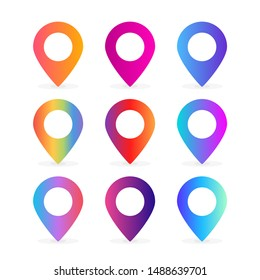 set of colorful location pin illustration vector