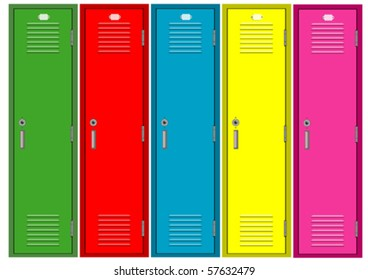 Set of colorful lockers