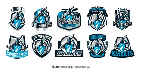 A set of colorful logos, emblems of a knight in iron armor. Knight of the Middle Ages, shield, warrior, swordsman, crusader, defender of the fortress. The mascot of the sports club.Vector illustration