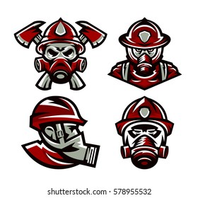 Set of colorful logos Fire Department, fireman, skull, mask firefighter, axes, isolated vector illustration. Sports style, printing on T-shirts.