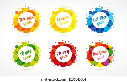 Set of colorful logotypes. Vector round coloured multifruit collection. Isolated graphic, cookie business idea, template with clearance, lettering on white background. Food industry emblem concept.