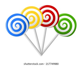 Set of colorful lollipops in hand drawn style. Collection of spiral candies sketch. Red, blue, green, yellow and white round swirl candy. vector art image illustration, isolated on white background