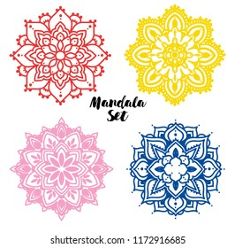 Set of colorful madala round ornaments, can be used as decorations for wedding or indian holidays,  vector illustration