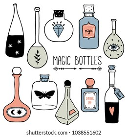 Set of colorful magic cartoon bottles and love potions. Vector illustration. Magic elixir hand drawn collection