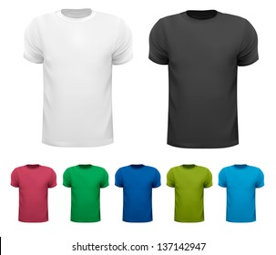 Set of colorful male t-shirts. Vector.