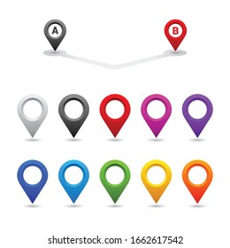 Set of colorful map pin, location pointer, Vector illustration