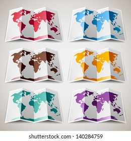 Set of colorful Maps of the World, vector illustration 10eps