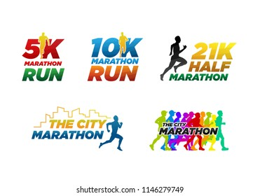 set colorful marathon run event logo template with running people illustration,  5K, 10K, 21K half marathon vector eps 10